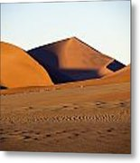 Sand Dunes Against Clear Sky Metal Print