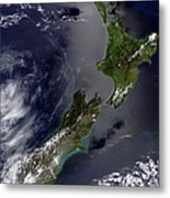 Satellite View Of New Zealand Metal Print by Stocktrek Images