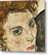 Seated Woman With Bent Knee Metal Print by Egon Schiele