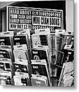 selection of scottish and irish clan history books in a shop in Scotland UK Metal Print