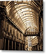 Sepia Toned Image Of Leadenhall Market London Metal Print