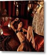Sexy Young Woman Lying In Bed Metal Print