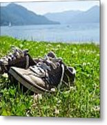 Shoes On The Green Grass Metal Print
