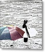 Surfer Umbrella Metal Print
