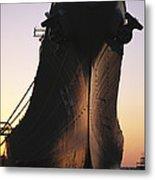 Silhouette Of The Battleship U.s.s Metal Print