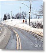 Snow By The Roadside Metal Print