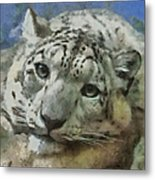 Snow Leopard Painterly Metal Print