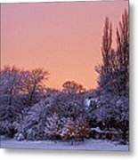 Snow Scene At Sunrise Metal Print