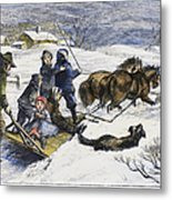 Snowstorm In The Country Metal Print