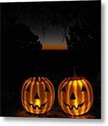 Solar Halloween Pumpkins Metal Print by Rebecca Cearley