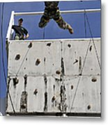 Soldier Rappels Off A Tower While Metal Print
