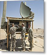 Soldiers Checking A Radar System Metal Print
