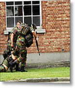 Soldiers Of The Belgian Army Helping Metal Print