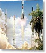Soyuz-2 Rocket Launch, Artwork Metal Print
