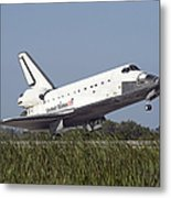 Space Shuttle Atlantis Touches Metal Print