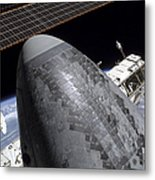 Space Shuttle Discovery Docked Metal Print