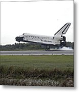 Space Shuttle Discovery Touches Metal Print