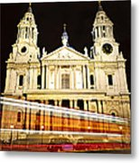 St. Paul's Cathedral In London At Night Metal Print