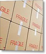 Stacks Of Cardboard Boxes Marked 'fragile' Metal Print