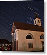 Star Trails Behind Vodice Chapel Metal Print