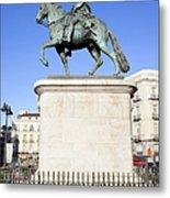 Statue Of King Charles IIi In Madrid Metal Print