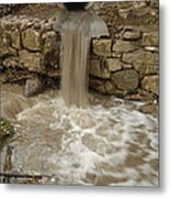Storm Sewer Water Rushes Into A Stream Metal Print
