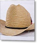 Straw Weave Cowboy Hat Metal Print