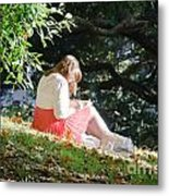 Student Girl In The Autumn Park Metal Print