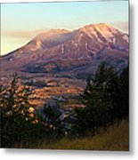 Sun Going Down At Mt. St. Helens Metal Print