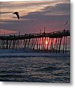 Sunrise At Avalon Pier Metal Print