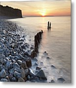 Sunset At The Remains Of Lilstock Pier Metal Print