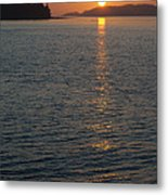 Sunset With The Mountains Of Vancouver Metal Print