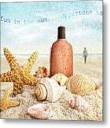 Suntan Lotion And Seashells On The Beach Metal Print