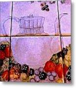 Teapot And Berries Metal Print