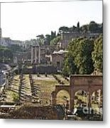Temple Of Vesta Arch Of Titus. Temple Of Castor And Pollux. Forum Romanum Metal Print by Bernard Jaubert