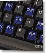 Text Message Keyboard Metal Print by Blink Images