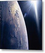 The Sun Shining On Planet Earth Metal Print