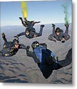 The U.s. Navy Parachute Demonstration Metal Print