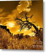 The Weight Of The Clouds In Sepia Metal Print