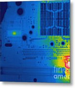 Thermogram Of A Computer Board Metal Print