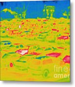 Thermogram Of Cars In A Parking Lot Metal Print