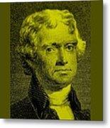 Thomas Jefferson In Yellow Metal Print