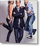 Three Fashionably Dressed Young People Metal Print