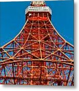 Tokyo Tower Faces Blue Sky Metal Print by Ulrich Schade