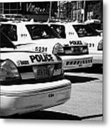 Toronto Police Squad Cars Outside Police Station In Downtown Toronto Ontario Canada Metal Print