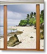 Tropical White Sand Beach Paradise Window Scenic View Metal Print