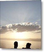Two Friends Enjoy The Sunset Metal Print