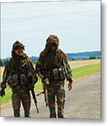 Two Snipers Of The Belgian Army Dressed Metal Print by Luc De Jaeger