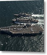 Underway Replenishment At Sea With U.s Metal Print