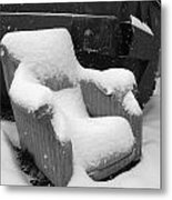 Unwanted Chair Black And White Metal Print